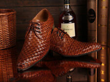 Men's Classic Genuine Cow Leather Shoes Dress Formal Shoes Lace Up Weave Brown