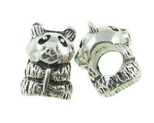 Panda Bear European Charm Bead Zoo Animal Memory Antique Silver Plated 1PC