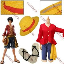 After 2 Years One Piece Monkey.D.Luffy Cosplay Costume Hat Straw Sandal