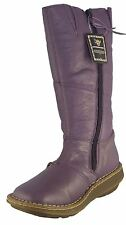 Dr Martens Auth Wedge Mid Calf Side Zip Purple Broadway Leather Boots