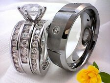 His and Hers,4 Pieces,Women(Sterling Silver 925),Men(Tungsten Carbide Ring7004-3