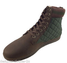 Dr Martens Eduardo Khaki Green Quilted Cuff Brown Wyoming Leather Ankle Boots