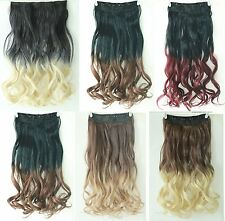 3/4 Full Head Synthetic Straight Curly Wavy Clip in on Ombre Hair Extensions