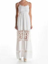NWT! VTG FLORAL CROCHET EMBROIDERY WHITE BOHO GYPSY FESTIVAL MAXI DRESS - S.M.L