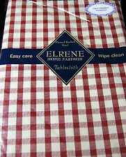 """FLANNEL BACK VINYL  """"CHECKS"""" TABLECLOTHS ASSORTED COLORS &  SIZES BY ELRENE"""