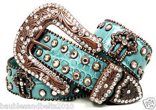 B&B CoWgiRL WeStErN SpArKLiNg TuRqUoiSe RhInEsToNe EmBoSsEd LeAtHeR BeLt