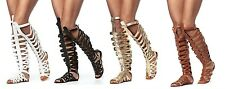 Thigh Strappy Knee High Open Toe Gladiator Buckles Flat Sandals Padded SOLO-11