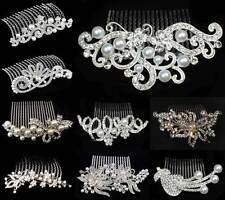 BRIDAL HAIR COMBS PEARL WEDDING COMB CRYSTAL DIAMANTE VINTAGE SLIDE CLIP TIARA