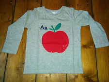 ★New Mini BODEN Baby Grey A for Apple Appliqué T Shirt Age 0 6m 1 18m 2 3 yrs★