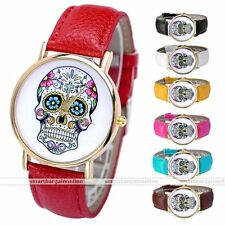33mm Women's Golden Day Of Dead Sugar Skull Cross Quartz Analog Wrist Watch