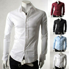 NEW Mens Long Sleeve Slim Button Work Formal/Casual Dress Shirts Tops S M L XL