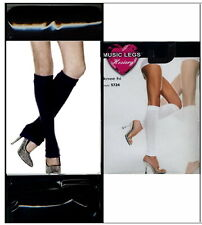 Leg Warmers Acrylic Ribbed Knee High Cuffed Knit Black or White Music Legs 5724