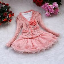 NWT 2pcs Pink Girl Toddler Flowers Pearls Coat Tutu Dress Outfit Set T12 2-5T
