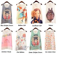 New Summer Fashion Womens Sleeveless Graphic Printed T Shirt Tee Blouse Vest Top