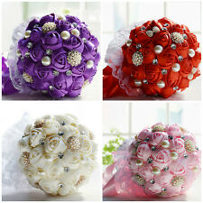 New HANDMADE Silk Ribbon Rose Bridal  Wedding Bouquet Pearl Crystal Pin Brooch
