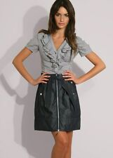 KAREN MILLEN DENIM BLUE SH012 DAY CASUAL SMART EVENING WIGGLE MINI SPORTY SKIRT
