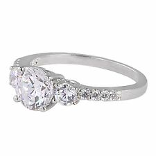 925 Sterling Silver Womens CZ Cubic Zirconia Ring 7mm Center Stone