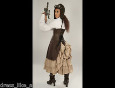 DRESS LIKE A PIRATE STEAMPUNK MID LENGTH BUSTLE SKIRT KHAKI/BROWN XS-5X