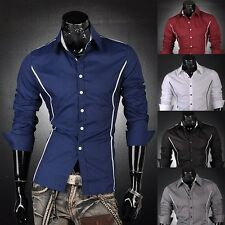 Jeansian Mens Fashion Casual Dress Shirts Top Slim Trend 6 Colors 5 Sizes 8384