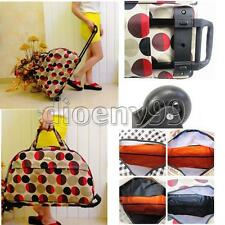 Large Tote Rolling Trolley Wheel Luggage Travel Suitcase Holdall Carry On Bag