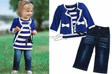 3pcs Baby Girl Kid Coat+T-shirt+Jeans Outfit Set Suit Clothing Navy Blue 0-5Year