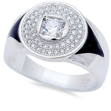 Men's Round Pave CZ & Black Onyx .925 Sterling Silver Fashion Ring Sizes 8-11