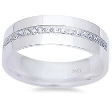 Men's White Cz Fashion Wedding Band .925 Sterling Silver Ring Sizes 9-11