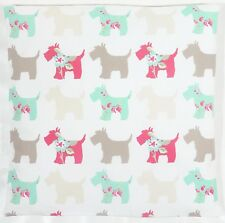 Clarke and Clarke Scottie Dogs Taupe, Red Duck Egg Cushion Cover Choice of size