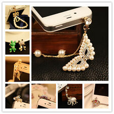 3.5mm Rhinestone Animal Cute Anti-dust Plug Ear Cap Jack For Cell phone Android