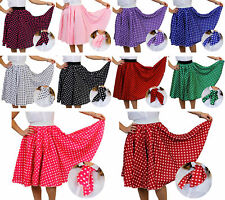 ADULTS LONG POLKA DOT SKIRT & SCARF ROCK AND ROLL 1950'S FANCY DRESS COSTUME