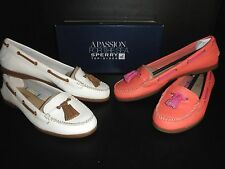 NEW $80 Womens Sperry Top Sider SABRINA  Kiltie Loafer Slipper Shoe: Ivory Coral