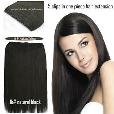 100g 150g 200g One Piece Clip In Remy Human Hair Extensions #1B nature black