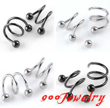10pc Stainless Steel Screw Spiral Ear Stud Lip Nose Ring Body Piercing
