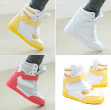 Womens Ladies High Top Hidden Wedge Sneakers Skateboard Casual Shoes Ankle Boots