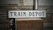 Distressed Train Depot Station Sign - Rustic Hand Made Vintage Wooden ENS1000525