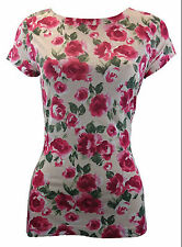 NEW WOMENS TU IVORY CREAM RED ROSE FLORAL T-SHIRT TEE VEST CAMI TOP UK 8-16