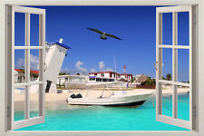 NEW Huge Window Beach 3D View Removable Wall Art Decor Mural Sticker Vinyl Decal