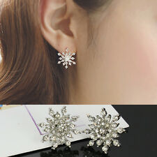 Fashion Crystal Rhinestone Snowflake Star Ear Stud Earring Wedding Bridal Gift