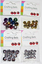 Craft Aluminium Jingle Bells Coloured Gold Silver Crafting Sewing Jewellery