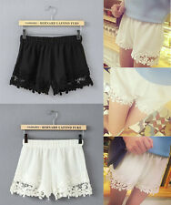 FASHION WOMENS LADIES GIRLS WHITE BLACK BRODERIE FLORAL DENIM LACE SHORTS