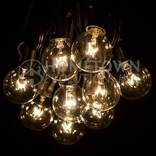 25 Foot Outdoor Globe Patio String Lights - Set of 25 G40 Clear Bulbs