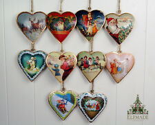 Vintage Chic Christmas Metal Heart Decoration - Santa Father Retro Traditional