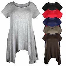 Ladies Womens Plus Size Short Sleeve Asymmetric Casual Tunic Tshirt Top