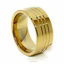 Tungsten Ring Gold IP Carbide 12MM Pipe Cut Polished Channels Comfort Fit