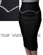 Rock Steady Black Yoked Up Pencil Skirt Pinup Swing 1950's Vintage Rockabilly