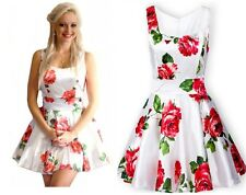 Adorable White Sleeveless Bandeau Waistband Floral Rose Tank Skater Prom Dress