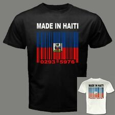 MADE IN HAITI Haitian Creole Barcode Port-au-Prince Flag Black T-SHIRT Tees Y18