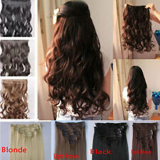 "New Full Head 8 Piece/5 Clips In Hair Extensions Hair Black Brown Blonde 24"" 18"""