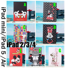 For iPad mini 2 3 4 5 air Disney Mickey minnie PU Leather stand HOLD case cover