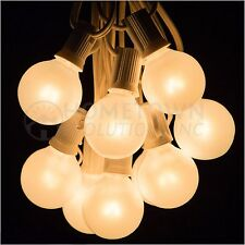 50 Foot Outdoor Globe Party String Lights - Set of 50 G40 White Pearl Bulbs